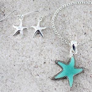 Jewelry - Sea Glass Starfish Necklace & Earring Set